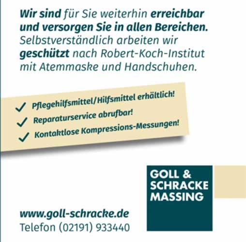 Goll & Schracke Massing in Coronazeiten weiterhin geöffnet!